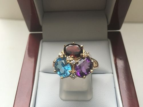 9 CARAT YELLOW GOLD DIAMOND AMY GARNET TOPAZ RING KOK in Limited