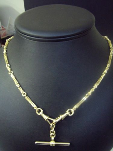 Necklace t bar fob chain 9 carat yellow gold g d 06223 in neckchain is approximately 42cms this necklace has solid swifel clasps like the traditional fob watch chain mozeypictures Gallery