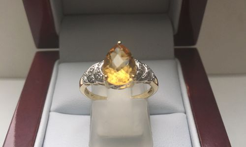 NATURAL CITRINE 9 CARAT YELLOW GOLD RING DGDR2523 in GIFTS UNDER