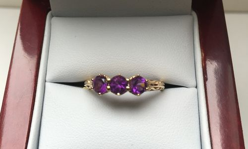 SOLID 9 CARAT YELLOW GOLD RING DDR394 in Amethyst Rings